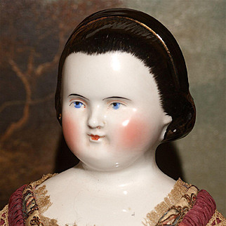 """19"""" 1860's Snood China with Alice Hairband and Elaborate Vintage Fashion Gown"""