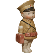 "A Very Cute 4.5"" All Bisque German Bisque Googly 'Army Medic'"