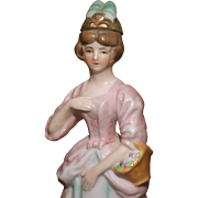 "MATRIX STOCKING STUFFER !!   7.5"" Porcelain Lady Perfume Bottle with Detachable Headpiece"