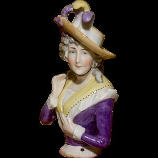 "Beautiful 4"" Half Doll Portrait of Mrs. Sarah Siddons"