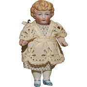 "Edwardian All Original 4"" All Bisque Child w.Molded Hair"