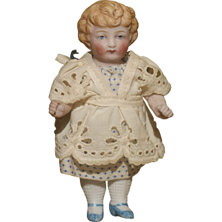 """Edwardian All Original 4"""" All Bisque Child w.Molded Hair"""