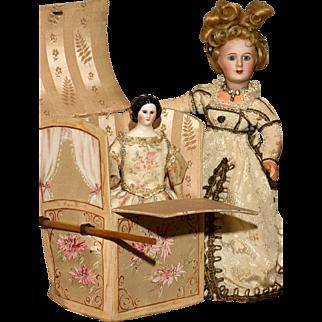 "Small 7"" tall  French Silk Covered Sedan Chair"