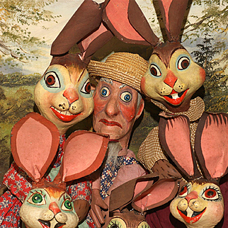 A Rare Signed W.P.A Six Piece Set of Peter Rabbit and Farmer McGregor Hand Puppets All Excellent