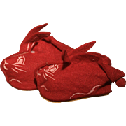 1950's Red Bunny Slippers for Girls, Boys and Baby Dolls of All Eras !