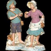 "MATRIX SUMMER SOUVENIR  !! Rare 13"" Gbr Heubach Pair of Mint Signed ""Pebbled"" Figurines"