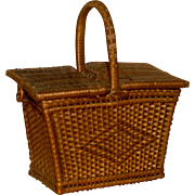 MATRIX SUMMER SOUVENIR !!  Doll Size French Wicker Hinged Basket