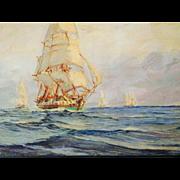 Antique Ship Maritime Oil Painting, Signed A Casanova, Impasto Waves