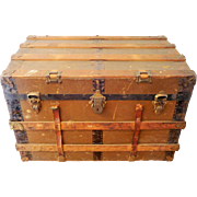 Brown Steamer Trunk with Leather Straps, Antique Storage Chest, Flat Top Wood
