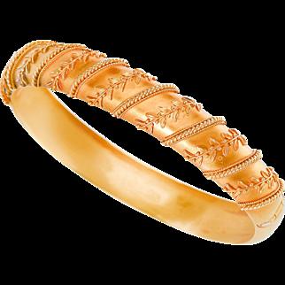 Victorian Archeological Revival Gold Bangle Bracelet in Original Box