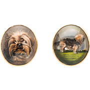 Art Deco Essex Crystal Terrier Cufflinks, 18 kt