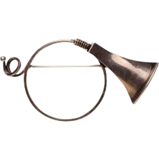 Sterling Silver French Horn Brooch