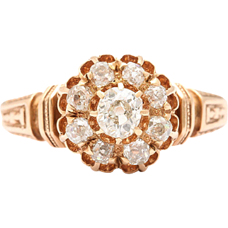 Lovely Architectural Revival Diamond Cluster Ring of Old Mine Diamonds