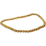 Completely Engraved American Gold Bead Necklace c.1920