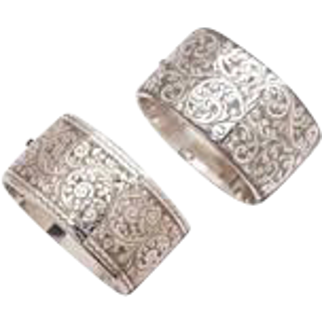 A Pair of Wide Victorian Silver Cuff Bracelets