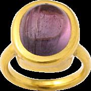 22 kt Gold  Hammerdown Tourmaline Ring, circa 1970