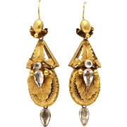 Victorian Gold and Aquamarine Chandelier Earrings