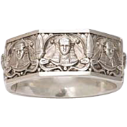 Sphinxes Galore on An Egyptian Revival Silver Bangle Bracelet