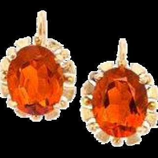 Citrine Lever Back Earrings, Mid-20th Century