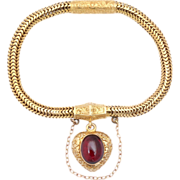 Victorian Snake Chain Bracelet with a Heart