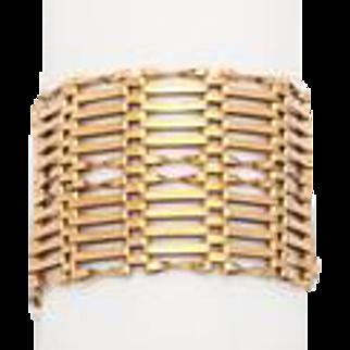 Extra Wide Edwardian Gold Gate Bracelet