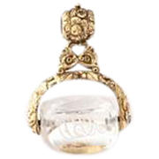 Victorian Rock Crystal Swivel Fob of 15kt