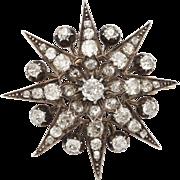 Convertible Antique  Victorian Eight Point  Old Mine Diamond Star Pendant /Brooch