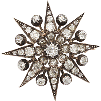 Convertible Antique  Victorian Eight Point  Old Mine Diamond Star Pendant /Brooch