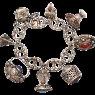 Silver Chunky Charm Bracelet c. 1950