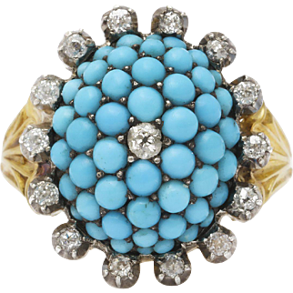 Sumptuous Natural Turquoise and Diamond Ring c. 1860