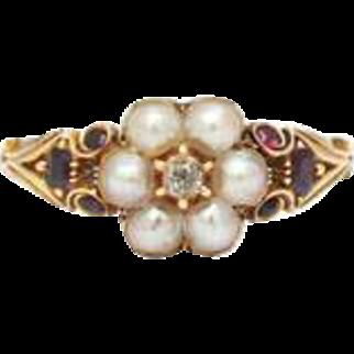 Natural Pearl Garnet, Diamond Gold Scrolled Shank Ring