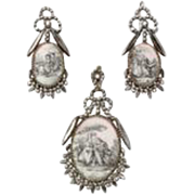 Rare, Romantic Georgian Cut Steel and Porcelain Pendant and Earrings