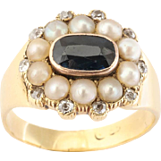 Rich Sapphire, Natural Pearl and Diamond Ring, c.1844