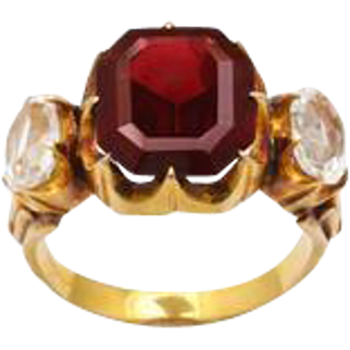 Garnet and Rock Crystal Victorian Ring in 18kt