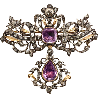 Portuguese Diamond and Amethyst Pendant in Gold and Silver c.1800