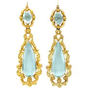 Romantic Georgian Pinchbeck and Aquamarine Paste Earrings