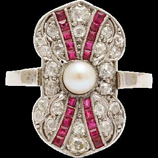 Art Deco Ruby Diamond Pearl Ring