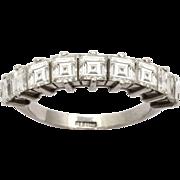Platinum Nine Diamond Half Hoop Ring