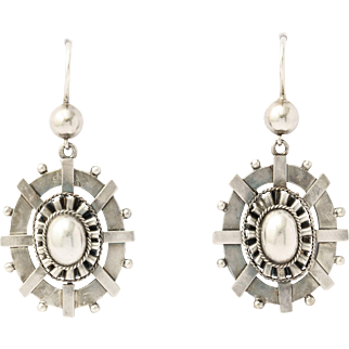 Bright Light Victorian Sterling Earrings c. 1870