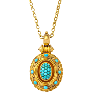 Etruscan Revival 15kt Gold and Pave Turqoise Locket