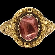 Georgian Foiled Pink Rock Crystal Ring