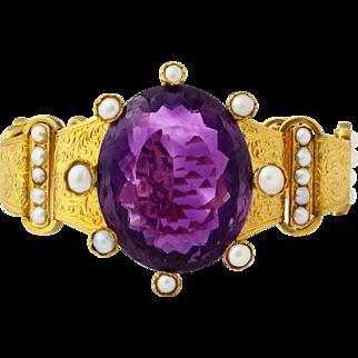 Grand Amethyst, Natural Pearl, 18kt Gold Victorian Bracelet