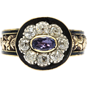 Georgian Amethyst, Diamond and Enamel Ring