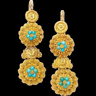 Regency 18 kt Turquoise Chandelier Earrings