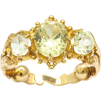 19th Century Old Mine Cut Chrysolite Ring