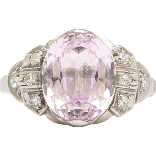 Pastel Pink Sapphire and Diamond Ring