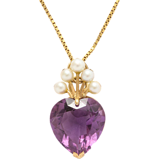 Amethyst Heart with Pearl Tiara