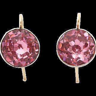 Authentic Georgian Pink Paste Drop Earrings