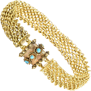 15 kt Georgian Mesh Bracelet with Turquoise Clasp