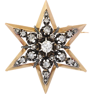15 kt Gold Diamond Pendant and Brooch c 1860